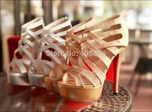 Hot Sell 2014 Women Pumps Fashion Thin Heels High Heels Gold And Silver Summer Woman shoes Free Shipping