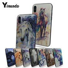 Yinuoda Watercolor horse Running Horses High Quality phone Accessories cover For Apple iphone X  8 8plus 7 7plus 6s 6s Plus 5 5s недорого