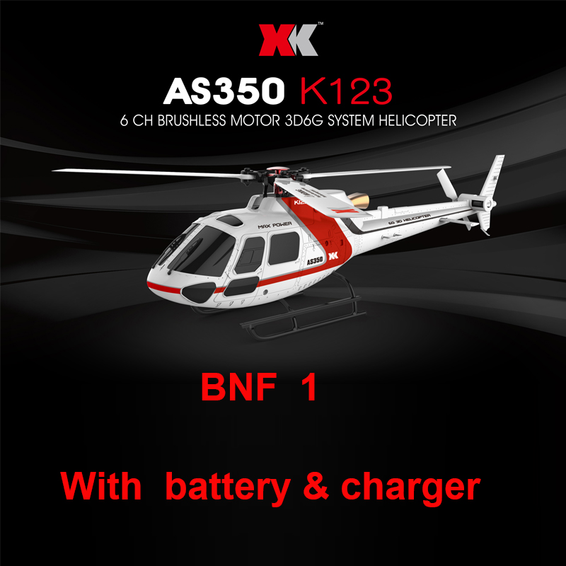 XK K123 BNF 1 (Without remote control) (with battery & charger ) 6CH Brushless AS350 Scale 3D6G System RC Helicopter for syma x8sw x8sc remote control helicopter 3pcs battery and the us regulatory charger with 1 care 3 conversion line