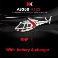XK K123 BNF 1 (sin control remoto) (con batería y cargador) Sistema de RC Helicóptero 6CH Brushless Escala AS350 3D6G