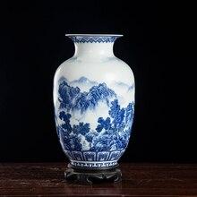Jarrones Vintage de cerámica azul y blanco Jingdezhen para flores decoración del hogar florero de porcelana esmaltado artículos de decoración