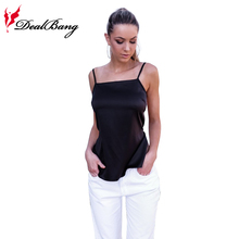 DealBang Sexy Fashion Women Satin White Tank Top 2017 Summer Female Sexy New Plain Black Spaghetti Strap Cami Top Camisole
