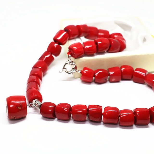 Fashion red natural coral irregular 11*15mm tube barrel beads 13*18mm pendant top quality charms necklace 18inch B1505