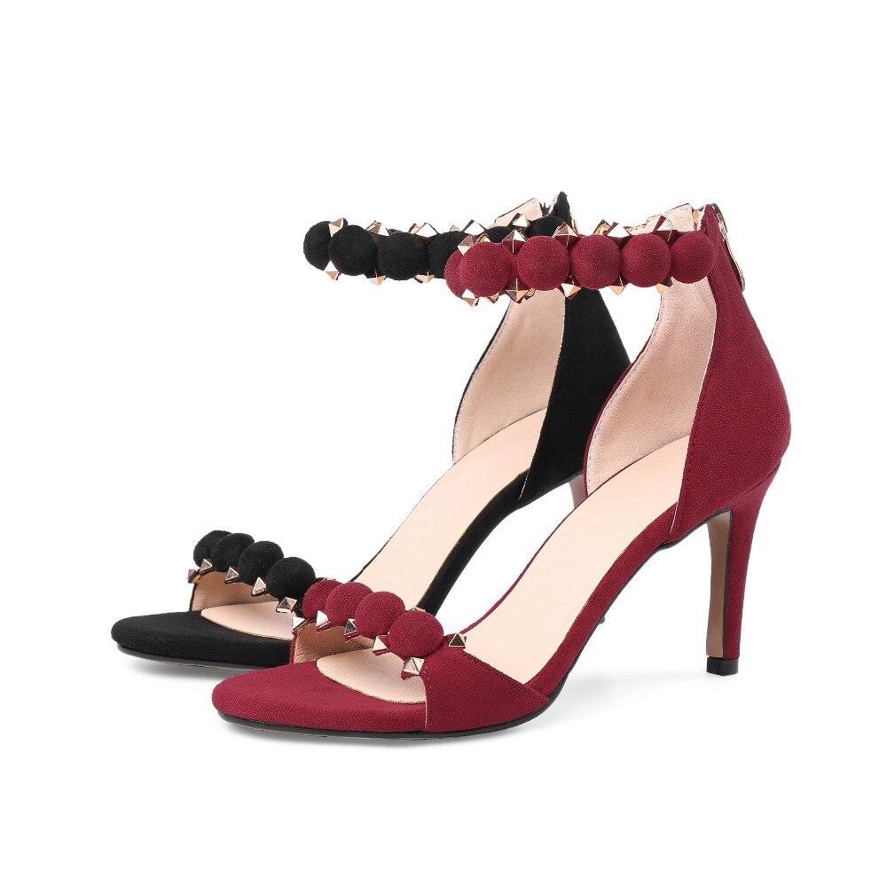 Sandalen Solide Streetwear Lenkisen Heels Schwarzes High Kid Weiche Büro Suede Dekoration L88 rot Metall Größe wein Handgefertigte Frauen Nieten Plus PZfPAq