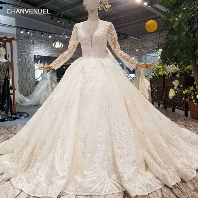 LSS108 free shipping wedding dresses o-neck long sleeves ball gown shiny  lace applique gown for wedding elegant with long train cd7ddf469aab