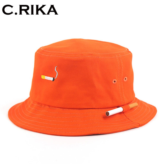 Orange Panama Bucket Hats 2018 New Fashion Harajuku Brand Special Design Snapback  Caps Cigarette Embroidery hip hop bucket Caps 6df2a980c224