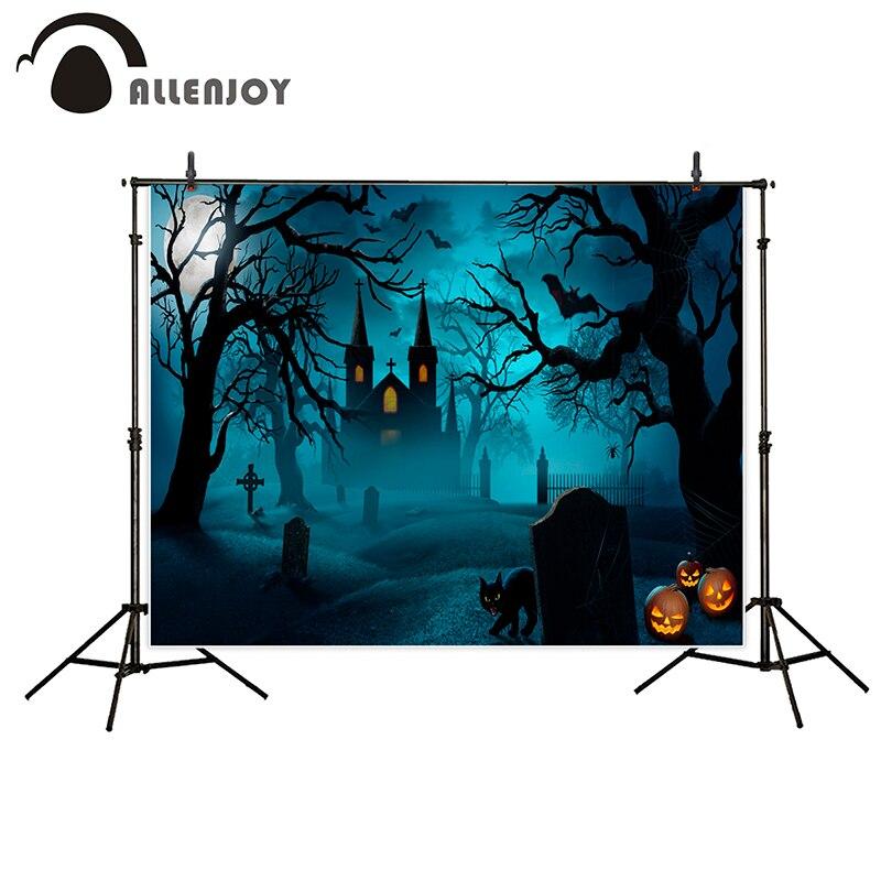 Allenjoy photography background Castle Moon Bats Cat Tombstone Tree Halloween theme backdrop photo studio camera fotografica