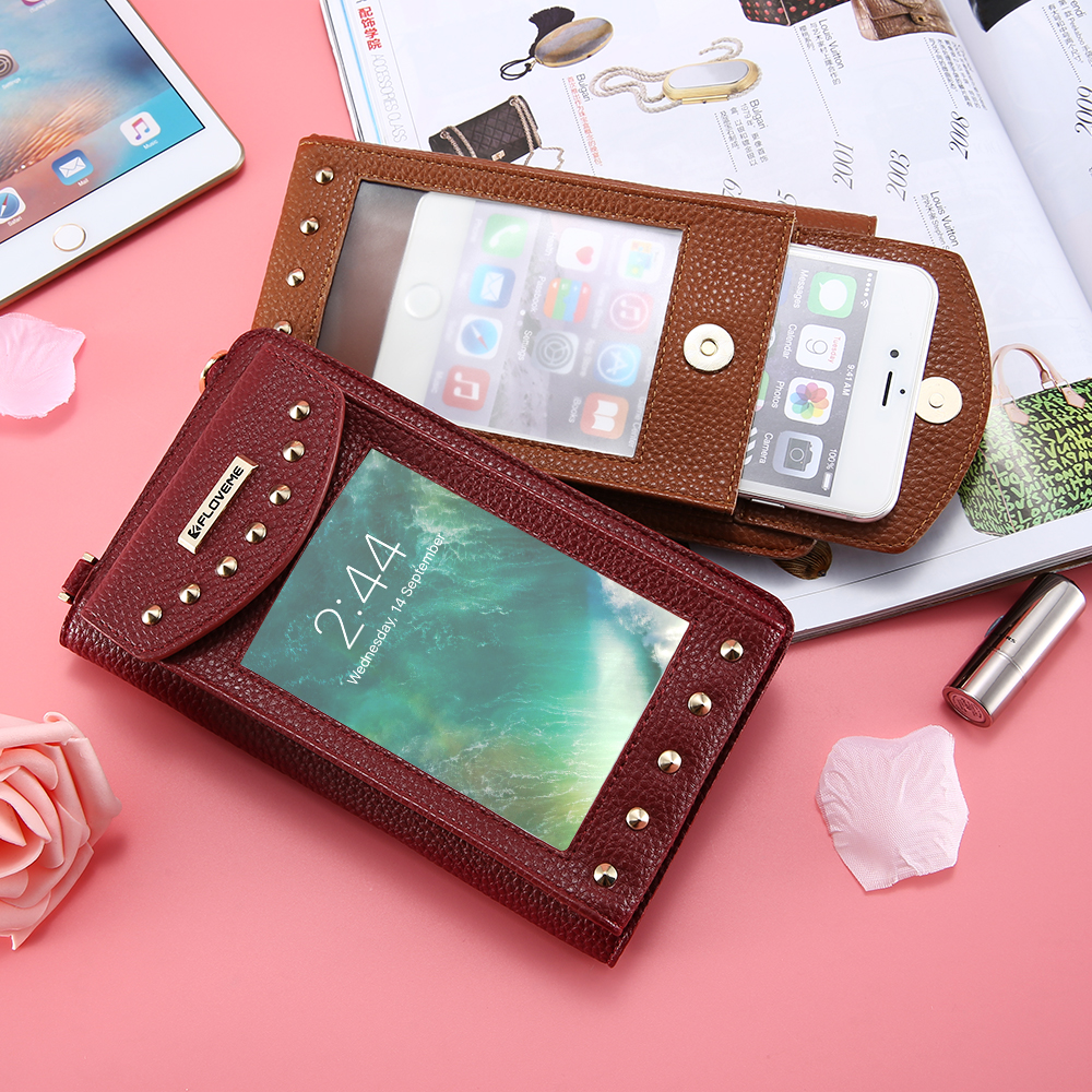 FLOVEME 5.5 inch Leather Wallet Case For iPhone 6S 6 Plus 6 S Plus Lady Woman Girl Cosmetic Phone Bag Cases For iPhone 8 7 Plus