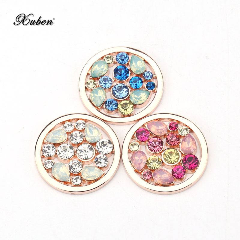 New Rose Gold 33 Mm Coin Disc Red Blue White Color Crystal Stone Fit My 35 Mm Frame Pendant Necklace Holder