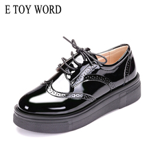 Buy E TOY WORD 2017 Autumn women flat platform sneakers Brogue Patent Leather lace up flats shoes female casual Creepers shoes XD6 directly from merchant!