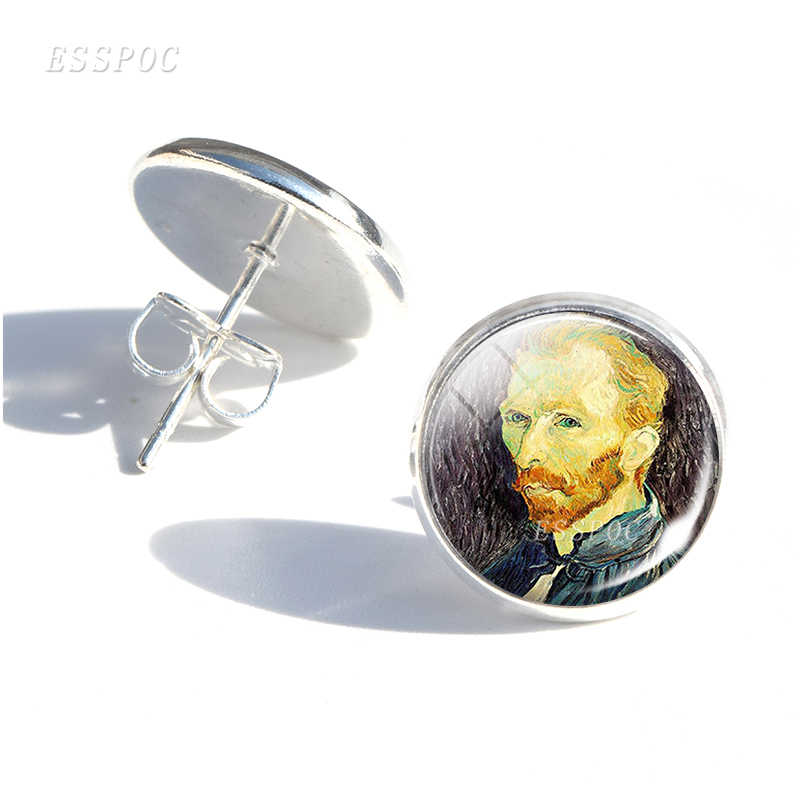 Van Gogh Stud Earrings Women Glass Cabochon Earings Starry Night Sunflower Oil Painting Jewelry Girl Women Gifts Dropshipping