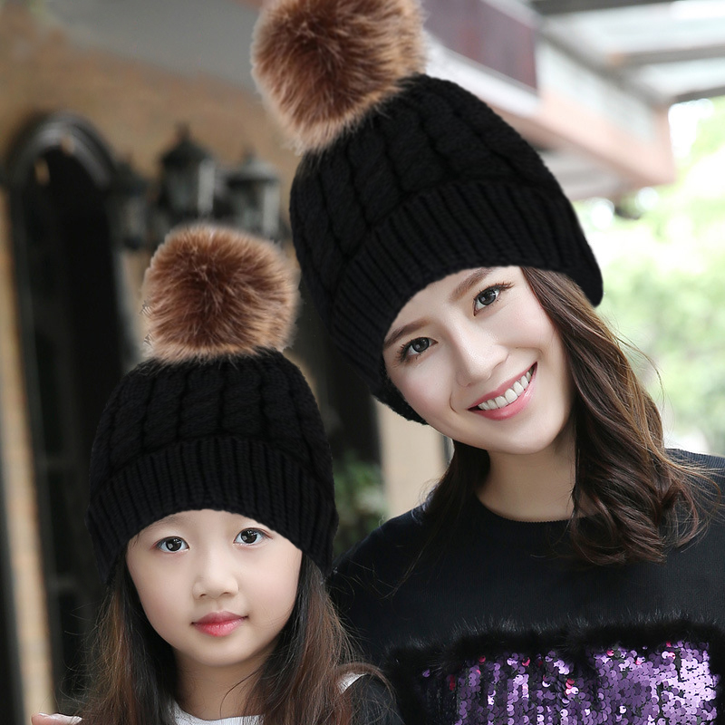 2 Pcs Mother & Child Baby Warm Winter Knit Beanie Fur Pom Hat Crochet Ski Cap hot winter beanie knit crochet ski hat plicate baggy oversized slouch unisex cap