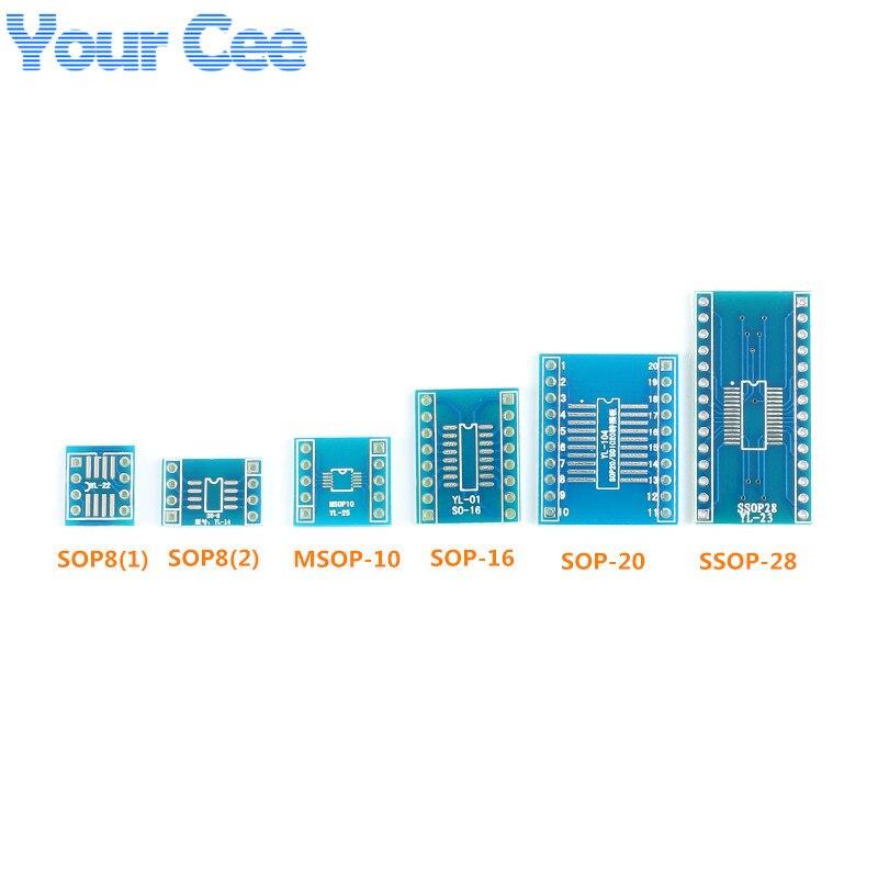 10set SOP MSOP TSSOP TO DIP SMD Adapter Plate Pcb Board Converter Plate Kit SOP8 TO DIP8 DIP10 DIP16 DIP20 DIP28 IC Socket