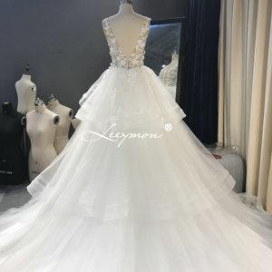 Image 5 - Leeymon งาช้างชุดแต่งงานเซ็กซี่ Illusion Top ไข่มุกชุดลูกยาวแขนกุดแต่งงานชุดเจ้าสาว Robe de mariee