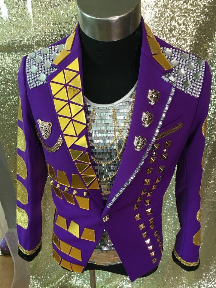 Purple Nightclub Fashion Male singer  Performance Jacket Outerwear Men's Stage Mirrors slim suit Jacket Show Stage Blazer Outfit