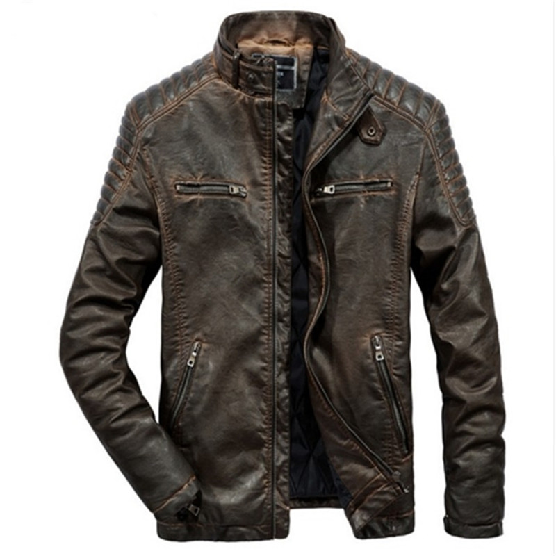 Male Winter Warm Casual Fashion Jacket Coat Genuine Leather  Jacket  Men  Motorcycles Vintage Brown Black Parka Cool  Slim