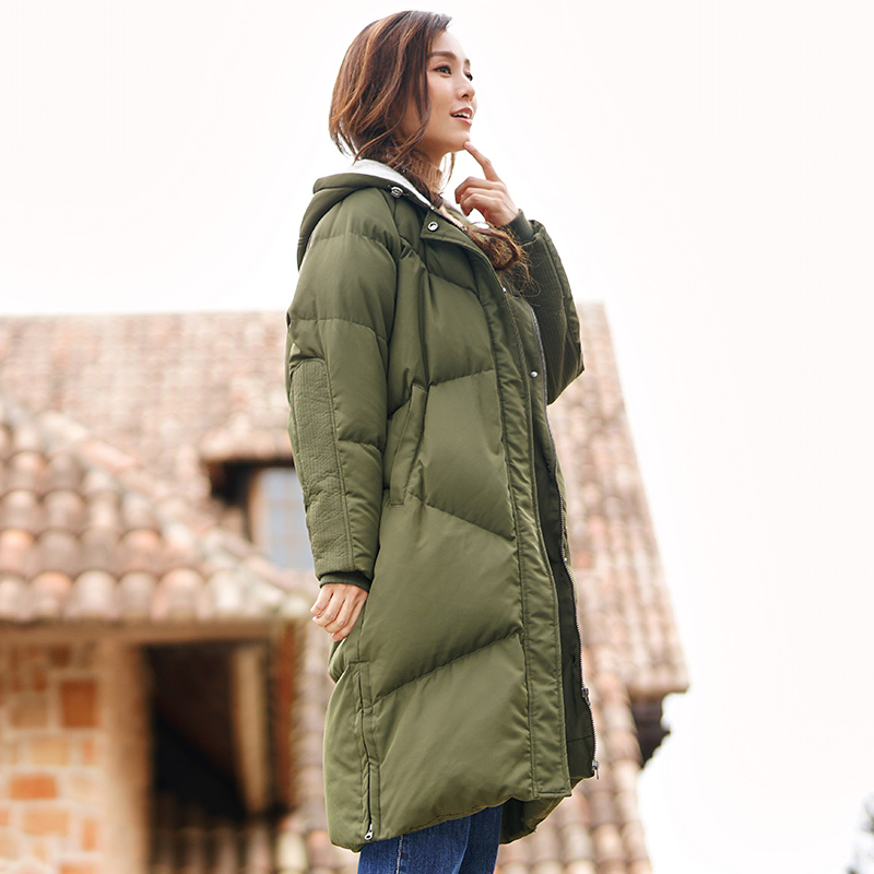 Inman New Winter Hooded Long Thick Warm White Duck   Down     Coat   Female Casual Style