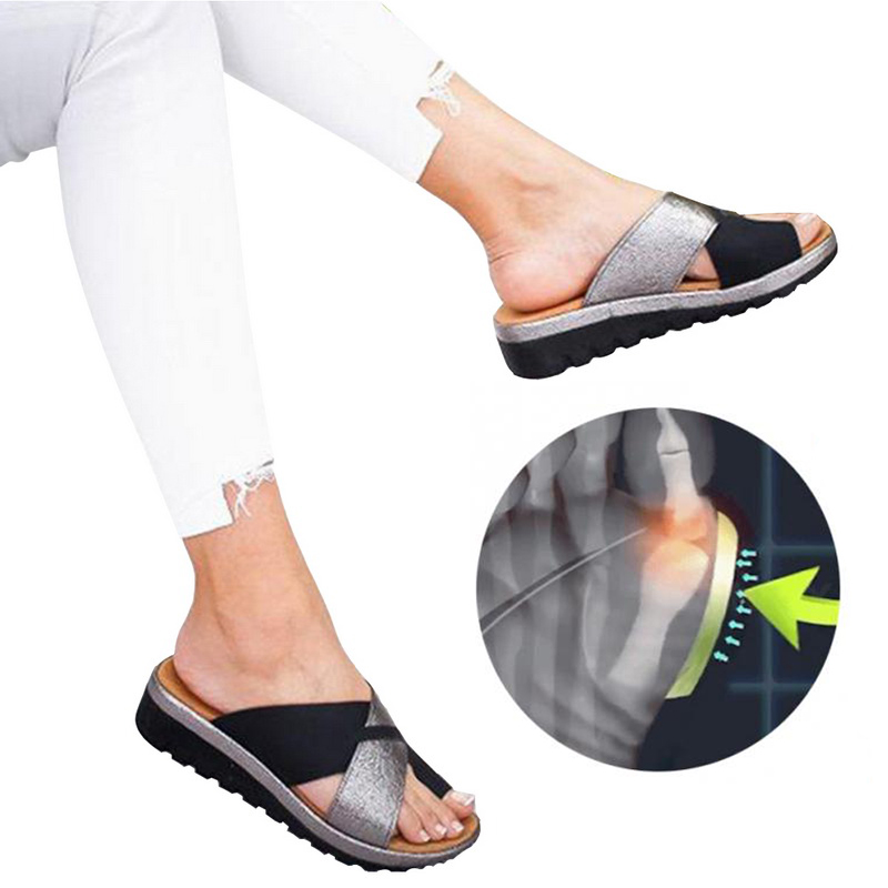 Women Artificial  Shoes Slippers Orthopedic Bunion Corrector Comfy Platform  Ladies Casual Big Toe Correction Sandal