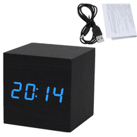 Black Wooden LED Alarm Clock USB Cable Sounds Control LED Display Electronic Desktop Digital Table Clocks