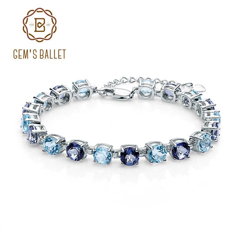 Klejnotu balet moda kobiety Fine Jewelry naturalne błękitny Topaz Mystic kamień kwarcowy 925 bransoletki ze srebra wysokiej próby w Bransoletki i obręcze od Biżuteria i akcesoria na  Grupa 1