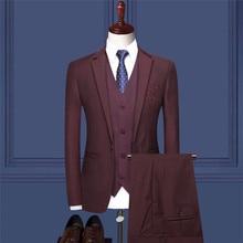 2019 new men's suit three-piece suit (suit jacket + trousers + vest) men's fashion Chinese style embroidery suit party dress suit lemoniade suit