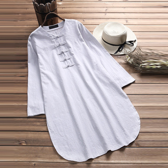 Plus Size 5XL Womens Tops and Blouses 2018 Harajuku Linen Vintage Long Sleeve Long Shirts Tunic Ladies Top Woman Clothes  1