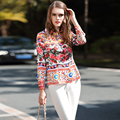 New Blouses Fashion Luxury High Quality Casual Turn-down Collar Long Sleeve 2017 Roses Print Geometric Women Blouse Casual