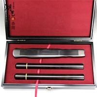 Mid Autumn festival gift box sets ebony inlaid boxwood long joss stick cylinder ebony guqin incense wholesale box manufacturer