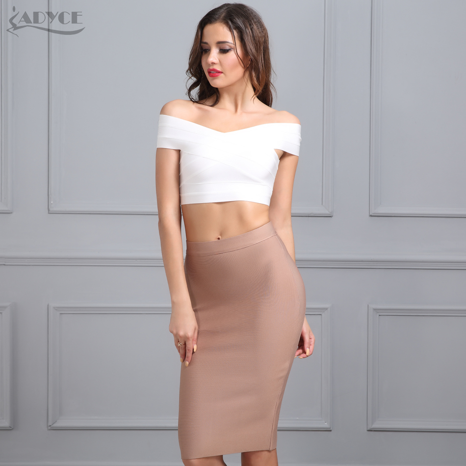 ADYCE New Women Bandage Skirt 2018 Sexy Celebrity Party Skirts Knee-length Khaki Blue Red White Black Nude Bodycon Skirt fashion nova bathing suits