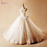 Waulizane Lustrous Appliques Organza Ball Gown Wedding Dress Sweetheart Beaded Crystals Bow Sashes Chapel Train Bridal