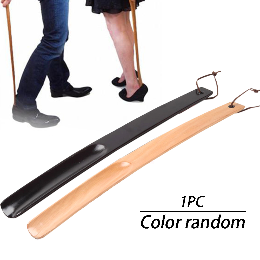 Shoe Horn Wearing Home Spoon Odor Resistant Durable Wooden Portable Pull Hotel For Boots Hanging Loop Long Handle Random Color
