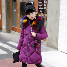 Girls Cotton-padded Long Outerwear & Coats 2018 Autumn Winter Children Warm Clothes Fashion Big Multicolour Fur Collar Jacket недорого