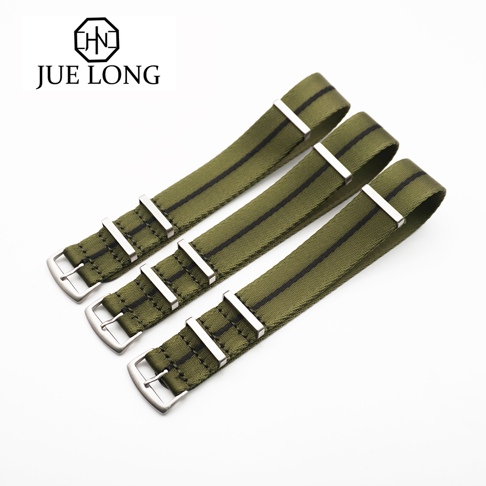 New Design 20MM 22MM Strap Green/Black Striped Seatbelt Nato Strap For Army Sport Watch Nylon Watch Band