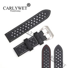 CARLYWET 24mm Hot Real Leather Handmade Replacement Thick Vintage Wrist Watch Band Strap Belt