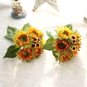 Image 5 - Bouquet de tournesol artificiel en soie, 5 têtes, pour décorer la maison, le bureau, le jardin, pour une fête, automne