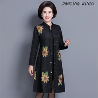 Hot Sale Middle aged Woman Windbreaker Floral Trench Coat Autumn Jacquard Embroidered Long Trench Thin Coat