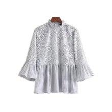 NSZ Women Summer Lace Blouse Striped Pullover Shirt Pleated Peplum Top Ruffled Neck Bell Flare Sleeve Tops Blusa Camisa feminina