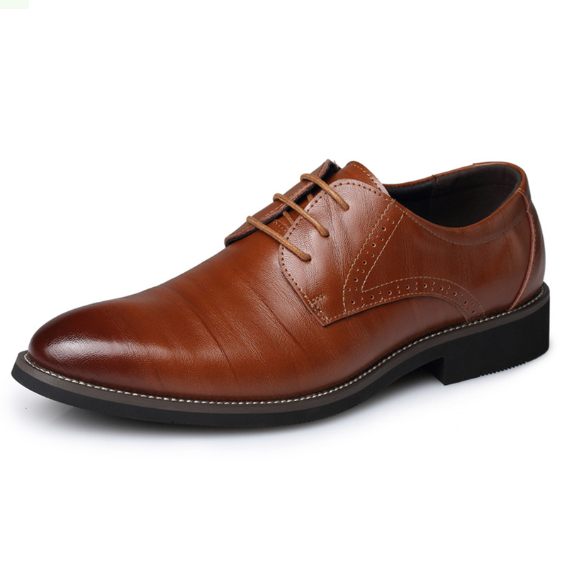 New 2017 Business Dress Men Formal Shoes Wedding Fashion Genuine Leather Shoes Flats Oxford Shoes For Men Pointed Toe