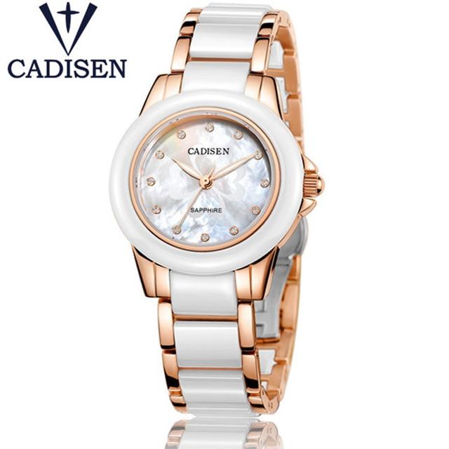 CADISEN Relógios de Luxo Da Marca das Mulheres Novas Senhoras de Genebra De Quartzo-relógio Menina de Ouro Cerâmica Relógio de Pulso Relogio feminino Montre Femme