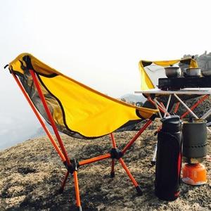 Image 4 - Sillas ultraligeras para juegos de jardín asiento amarillo portátil, silla de pesca ligera, taburete de Camping, muebles plegables para exteriores 7075