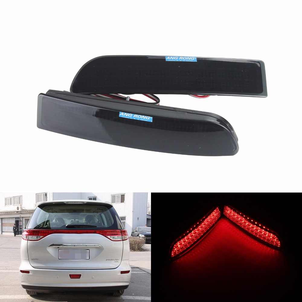 ANGRONG 2x Black Smoked Rear Bumper Reflector LED Brake Light For Toyota Avensis Saloon Estate/Tourer Estima 2.4 Previa (CA167)
