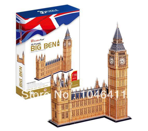 Big Ben CubicFun 3D educational puzzle Paper & EPS Model Papercraft Home Adornment for christmas birthday gift cubicfun 3d puzzle diy paper model building p615 dollhouse garden villa puzzle 3d handmade lovely toys for kids christmas gifts