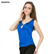 Aselnn Fahison Women Beading Chiffon Blouse Shirts 2017 Sexy V-neck Sleeveless Candy Colors Blusas Tank Tops Female Plus Size