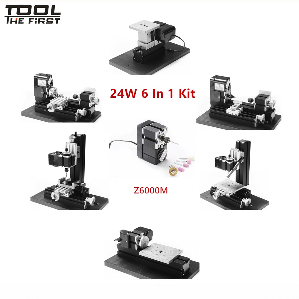 Thefirsttool Z6000M Metal Mini 6 in 1 Machine Kit DIY Tool Jigsaw Milling Lathe Drilling Machine Combined Machine Children Gift цена