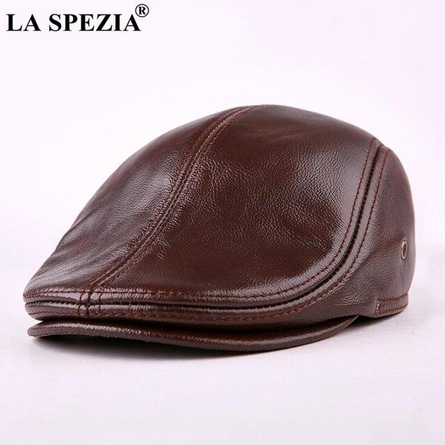 LA SPEZIA clásico boina caliente de los hombres de cuero genuino de Ivy a  prueba de viento de pico de pato sombrero Borgoña de invierno de LA marca  de lujo ... 370ccf0c137