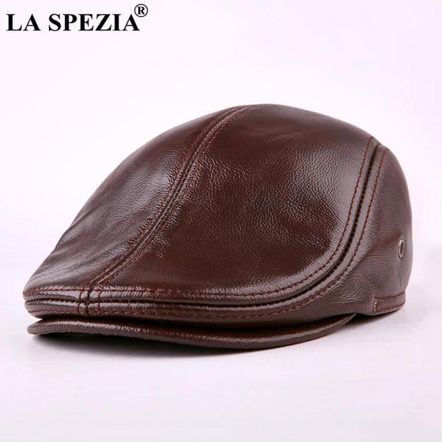 LA SPEZIA Classic Beret Caps Men Warm Genuine Leather Caps Ivy Windproof Duckbill Hat Burgundy Winter Luxury Brand Flat Hats