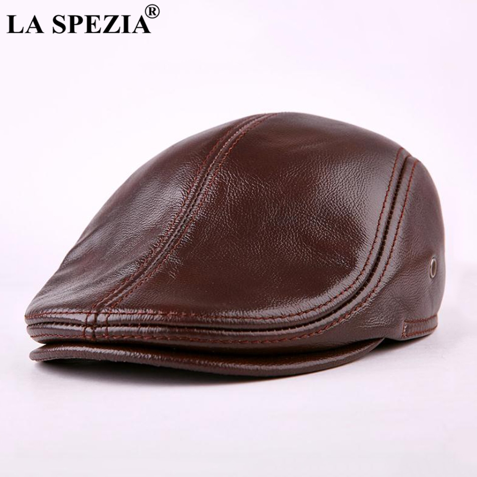 LA SPEZIA Classic Beret Caps Men Warm Genuine Leather Caps Ivy Windproof Duckbill Hat Burgundy Winter Luxury Brand Flat Hats