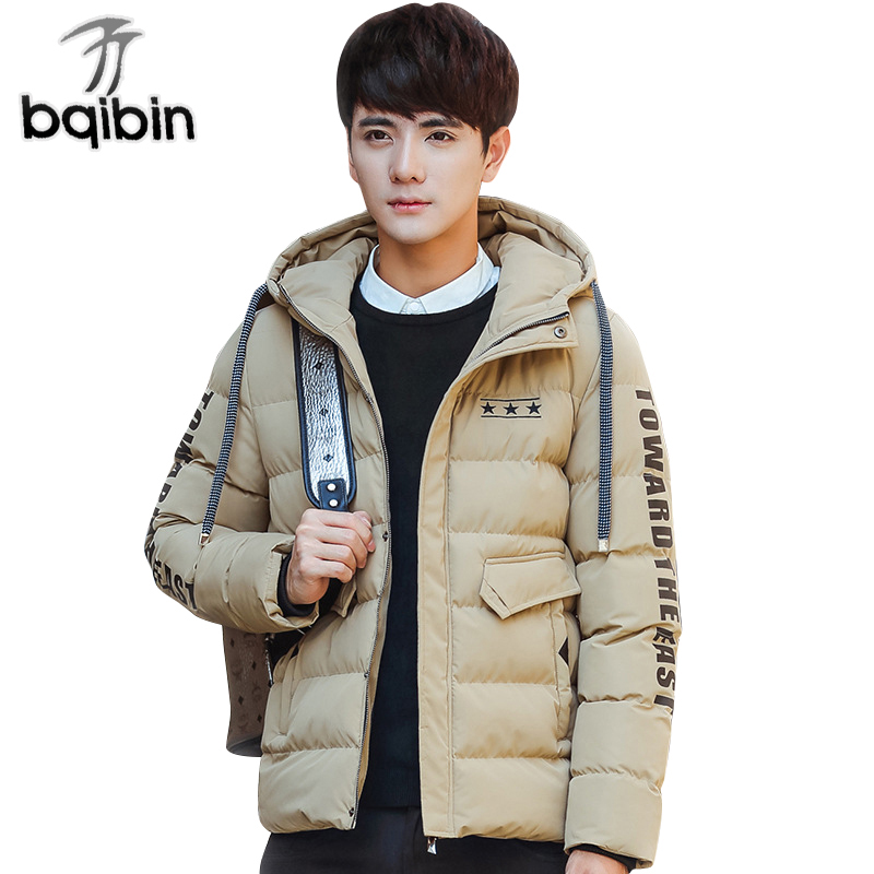 2018 New Brand Clothing Winter Jacket Men Thick Letter Printed Fashion MenS Coat Cotton Padded Jacket Male Slim Solid Men Coat