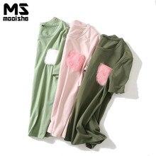 Mooishe Summer Funny Women T Shirt Pink Fluff Pocket Loose Short Sleeve Solid Women T-Shirts Tops Green/Pink Tops