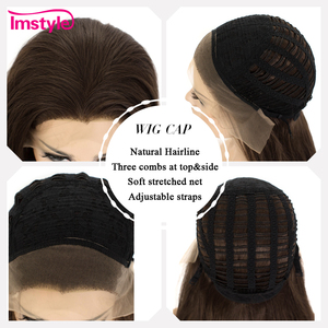 Image 5 - Imstyle Dark Brown Wig Synthetic Hair Lace Front Wig Straight Hair Wigs For Women Heat Resistant Fiber Glueless Cosplay Wig